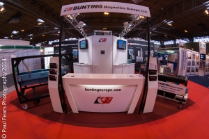 A wide angled view of the front of the Bunting Magnetics stand