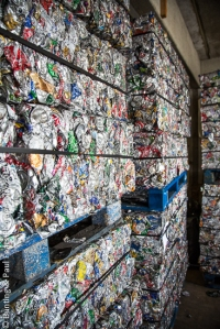 Compacted steel and aluminium cans recovered using Bunting Magnetics magnetic separators